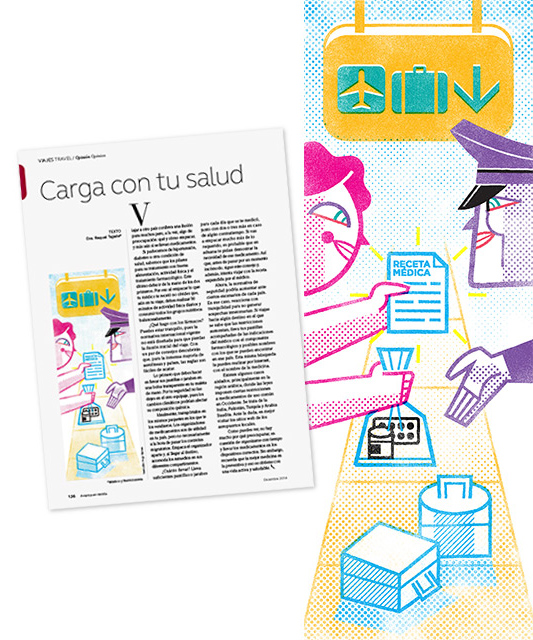 Spot Illustration: 'Carry With Your Health', Client: Publicaciones Semana