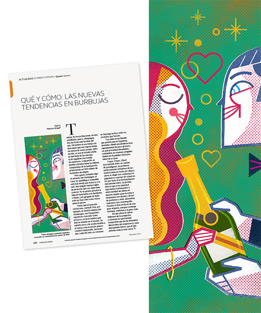 Spot Illustration: 'The New Trend On Bubbles', Client: Publicaciones Semana