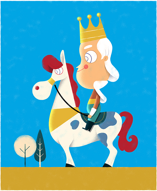 Funny King, Funny Horse, Illustration by Hugo Herrera (@hugoherrera)