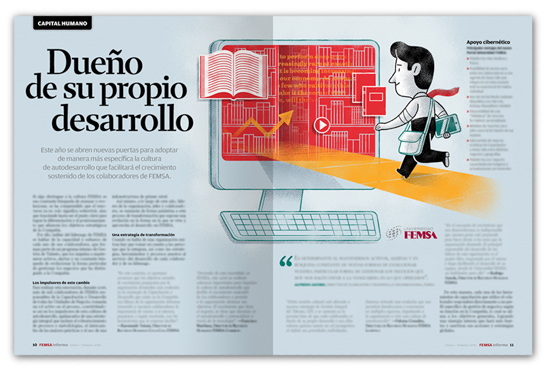 Femsa Informa Magazine #55, Spot llustration: Owner Of Your Own Development
